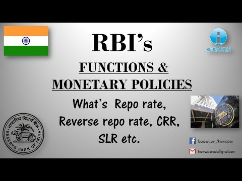 RBI and its Functions & Monetary Policies | CRR, SLR, Repo rate, Bank rate, Reverse Repo rate