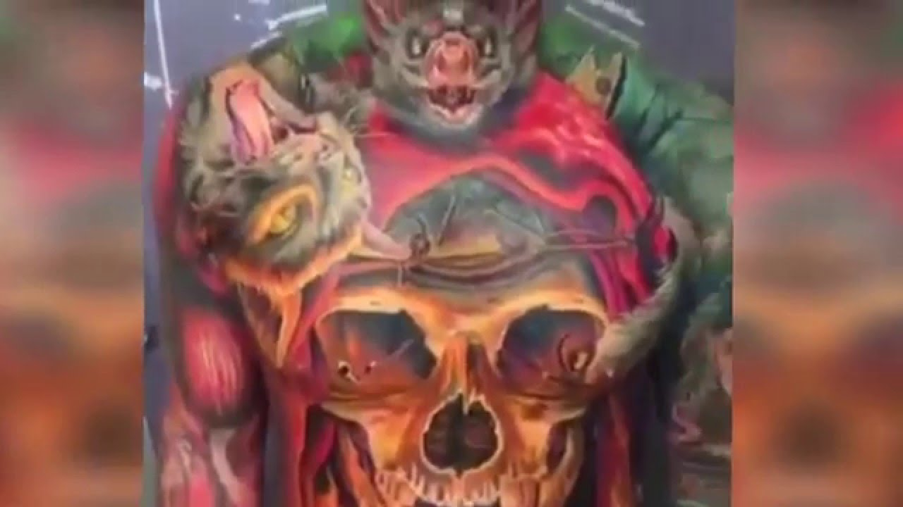 3d Skeleton Tattoo S Awesome 3d Tattoo S Full Body Tattoo S Youtube