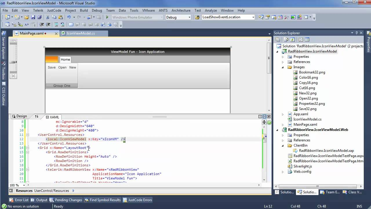 Using an Icon View Model in RibbonView - Telerik UI for Silverlight