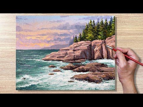 Acrylic Painting Seashore Waves Seascape