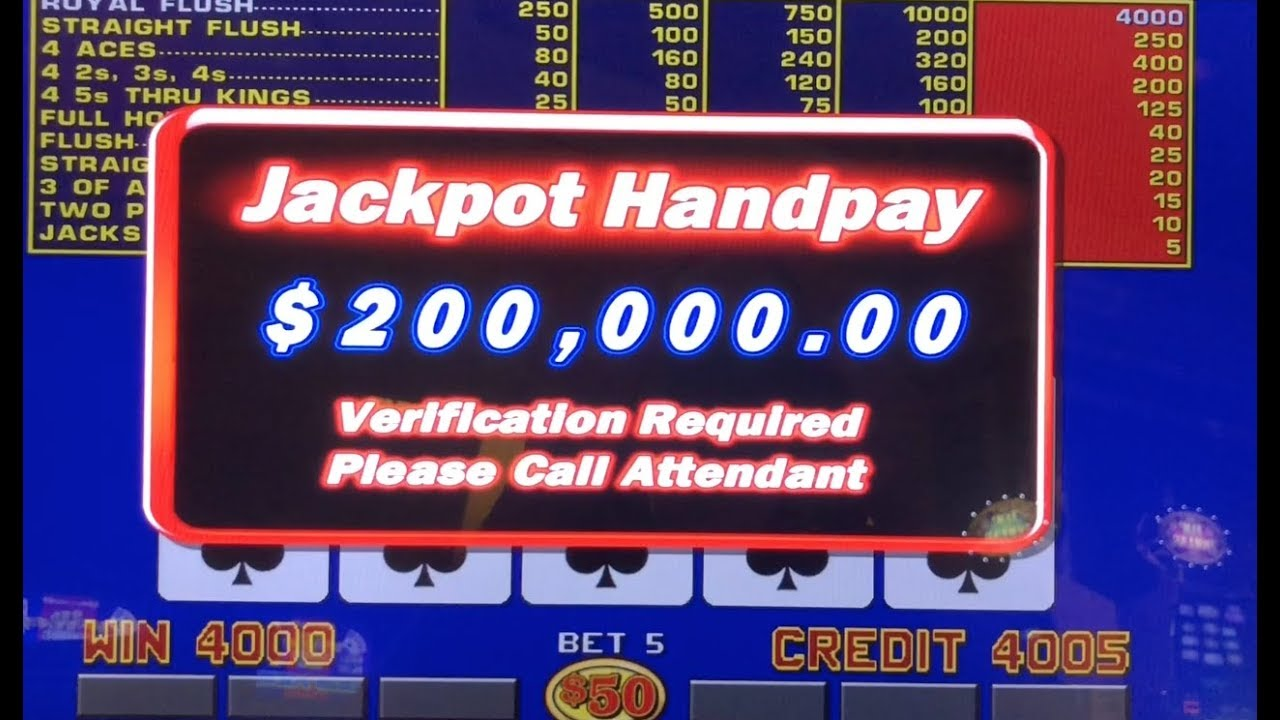 200 000 Jackpot Win With Royal Flush On Video Poker In Vegas