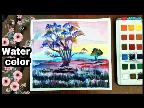 Tree landscape painting with Watercolor step by step for beginners