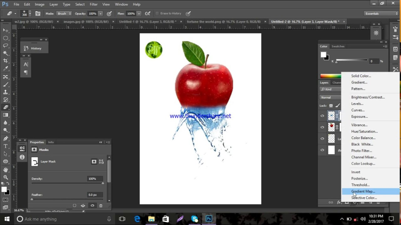 Photoshop CS6 tutorial water dispersion effect apple - YouTube