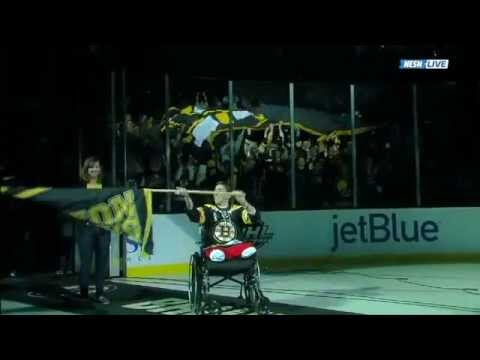 Jeff Bauman Carrying the Boston Strong Flag on Bruins Game 2 05/04/13