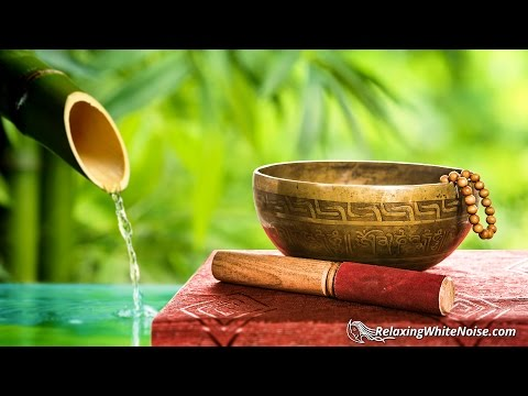 Bamboo Water Fountain + Tibetan Bowls | White Noise for Sleep, Studying, Meditation, Yoga | 10 Hours