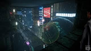 ASMR Blade Runner Balcony Cyberpunk City Rain Sound Ambience 7 Hours 4K - Sleep Relax Focus Chill