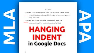 How to Make a Hanġing Indent in Google Docs (APA, MLA, etc.)