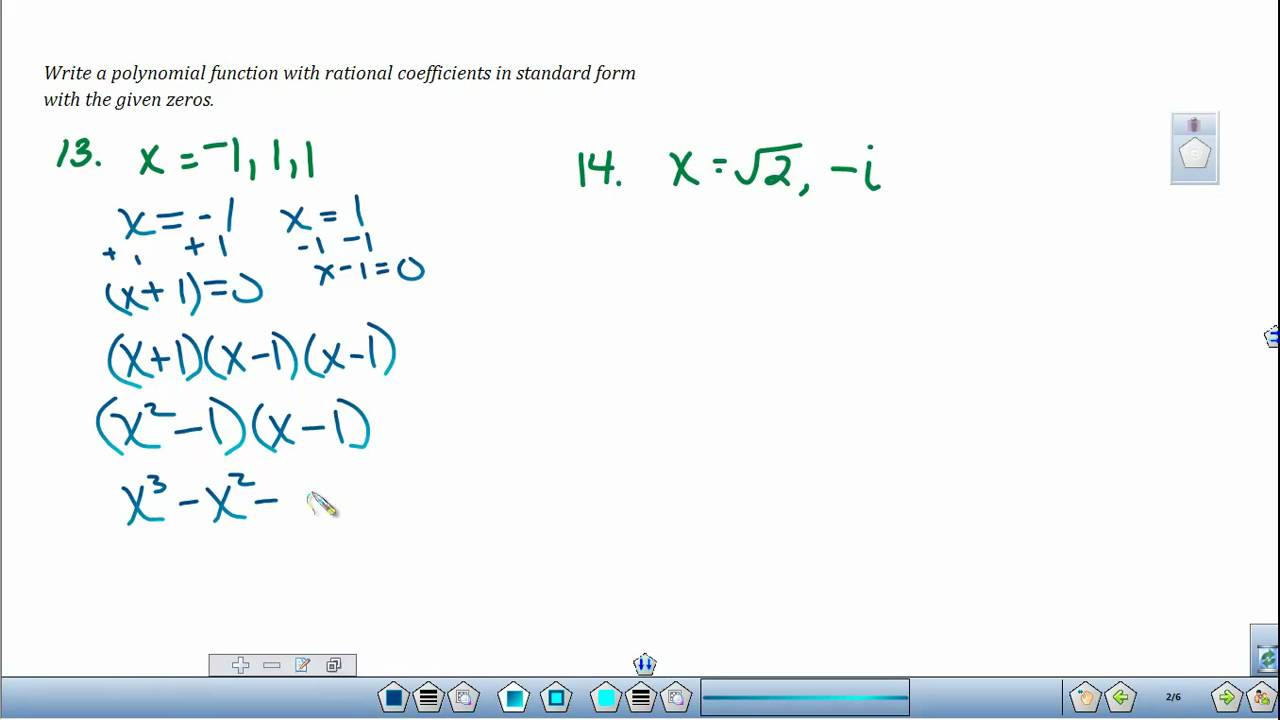 simplest form polynomial  Writing Polynomial Equations given the Zeros of the Functions