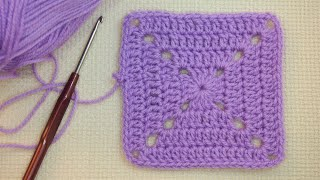 👆Плотный бабушкин квадрат крючком Урок 32   Tight Granny square crochet