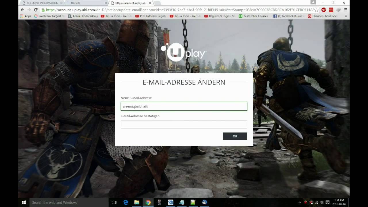 How to change email and password of your uplay account