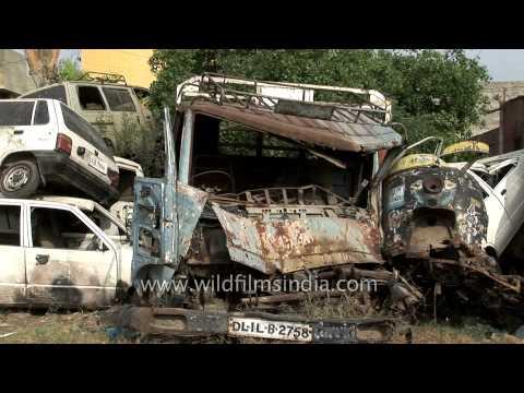 Old broken cars for recycling in junkyard - Delhi