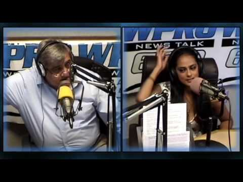 Gene Valicenti with Miss Rhode Island Shruti Nagarajan at WPRO, August 25, 2016