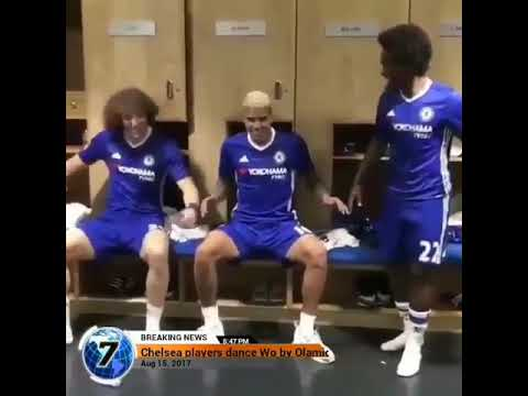 "Chelsea's David luiz dances to ""wo"" by Olamide"
