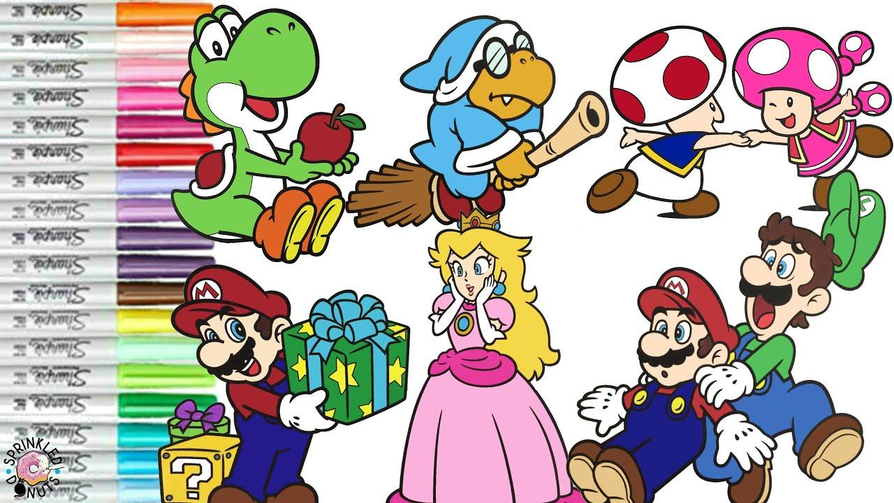 Super Mario Bros Coloring Book Pages Nintendo Mario Luigi Princess Peach  Toad Yoshi Wario Birdo - YouTube