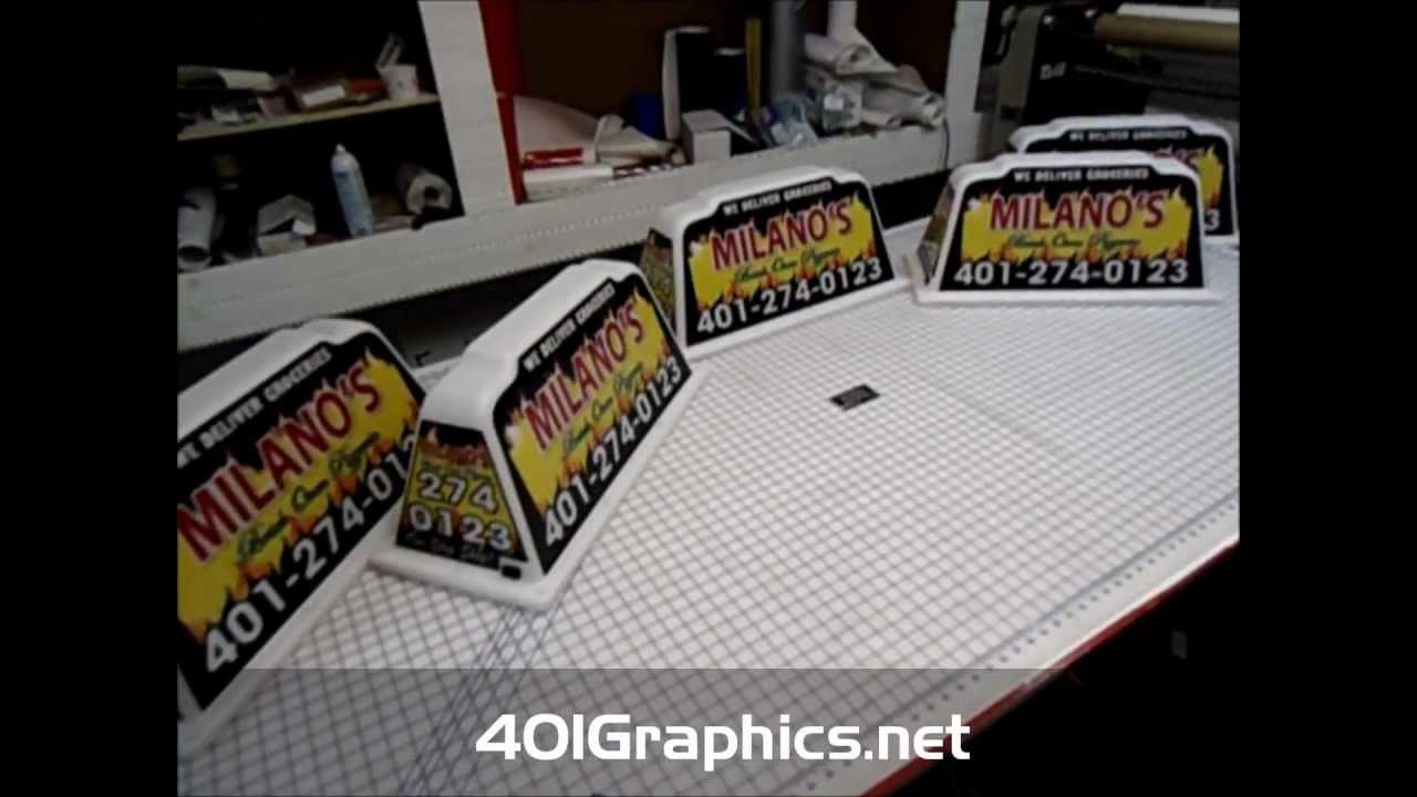 Applying Vinyl Graphics To Car Topper Sign Pizza