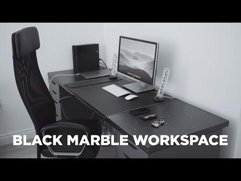 Black Marble Home Workspace Office Setup - 2016 MacBook Pro Setup 4K Display
