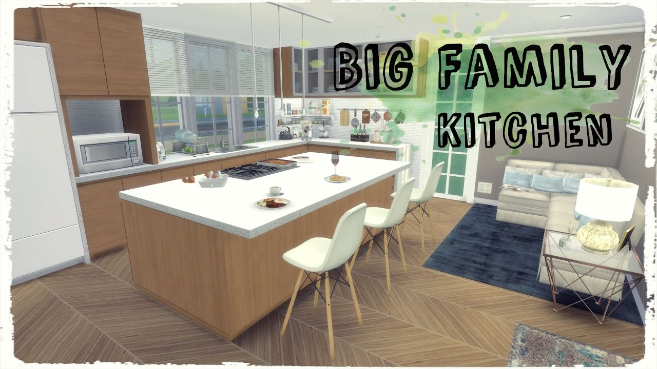 sims 4 big family kitchen room mods for download youtube - Family Kitchen