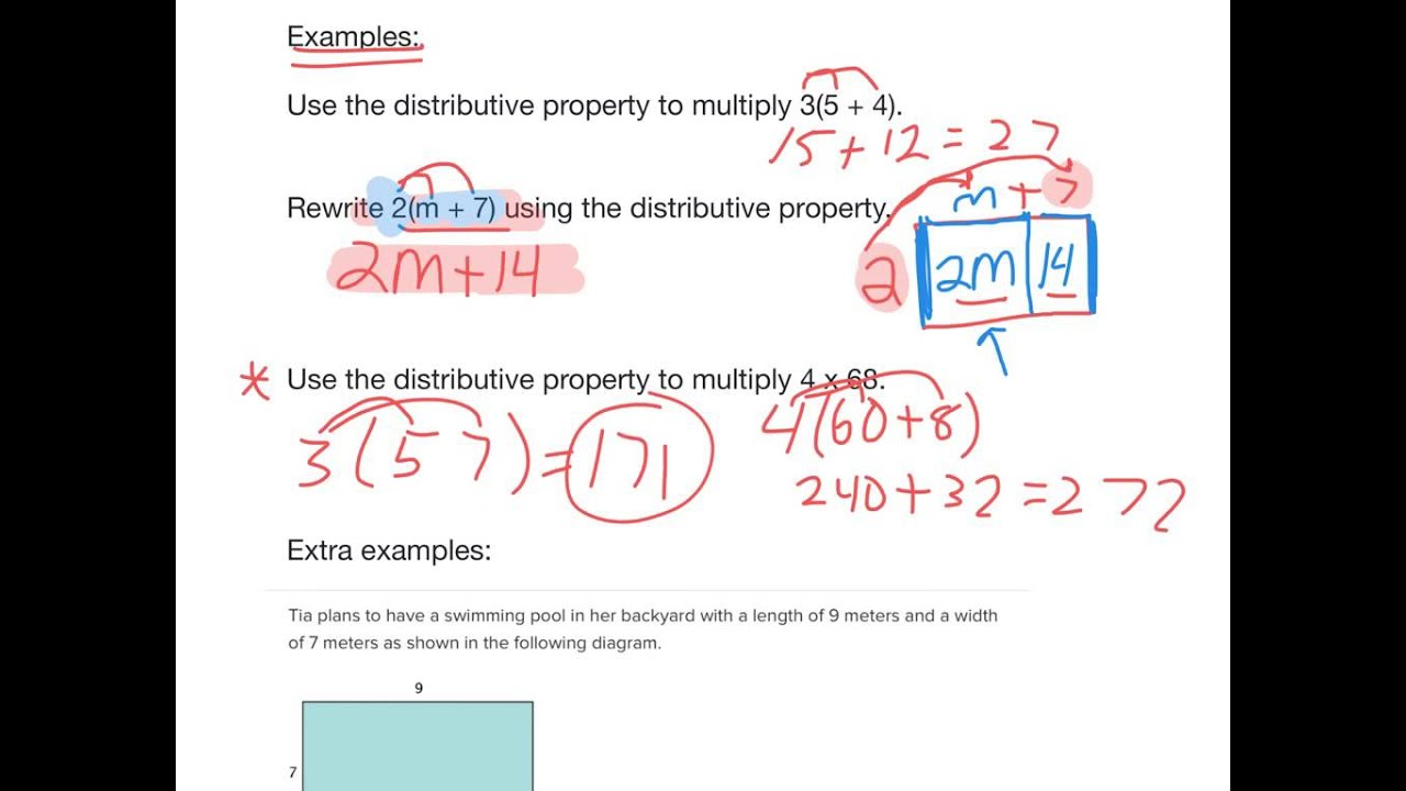 6 ee 3 use the distributive property to write equivalent