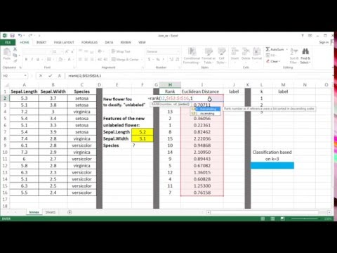kNN Machine Learning Algorithm - Excel