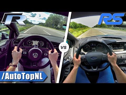 VW GOLF R vs FORD FOCUS RS   -km/h ACCELERATION TOP SPEED & AUTOBAHN POV by AutoTopNL
