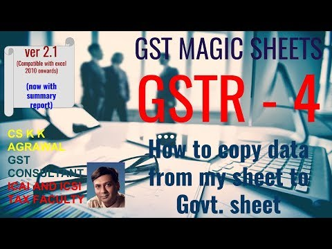 GSTR 4 master excel sheet : How to copy data from my sheet to Govt. sheet (http://imojo.in/abd8v9)