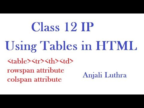 Using Tables In HTML, Class 12 Ip