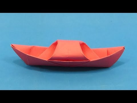 How To Make a Traditional Sampan Paper Boat - Origami Canoe Making For Kids - DIY Paper Toys