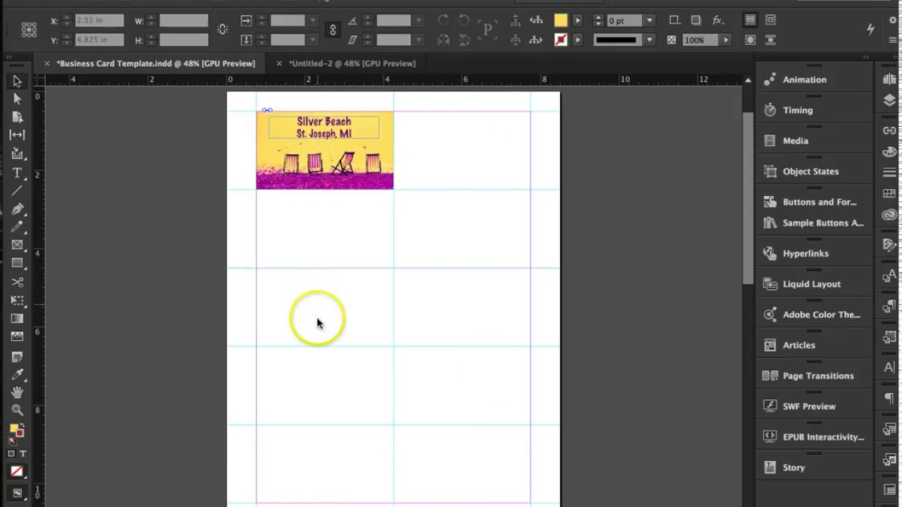 How To Create Business Cards In InDesign CC YouTube - Business card template indesign