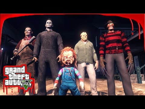 CHASED BY FREDDY KREUGER, MICHAEL MYERS, CHUCKY, JASON, LEATHERFACE!!! - GTA 5 HALLOWEEN SPECIAL MOD