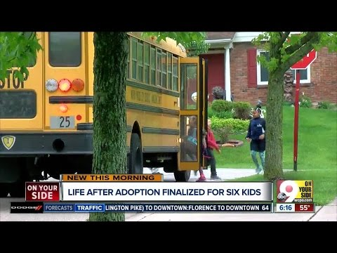 Family who adopted six siblings settling into groove on hectic school mornings