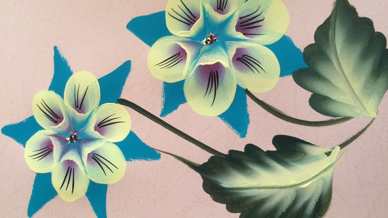 one stroke painting tutorial- 3d flowers - youtube