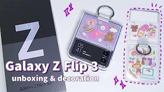 Samsung Galaxy Z Flip 3 Unboxing & Accessories Decoration *Lavender | 갤럭시 Z플립 3 언박싱 라벤더