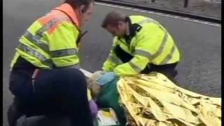 two crazy women get hit by a lorry and a car on the motorway