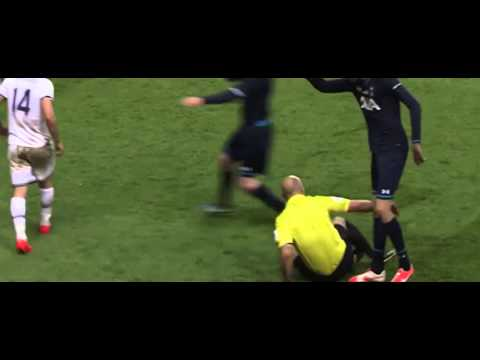 Howard Webb flattened by Lewis Holtby sliding tackle (Good Quality)