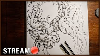 Live: Art Time Again! Lets Keep Drawing our Wyrm Dragon!