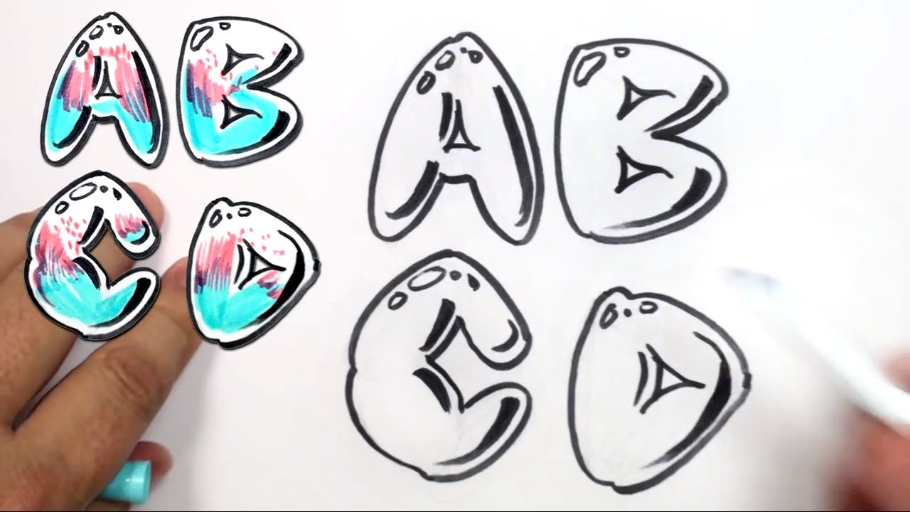 graffiti letters alphabet bubble letters alphabet a b c d mat youtube