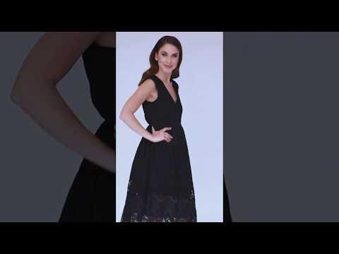 Video: Modna sukienka midi z haftowanym dołem i guziczkami