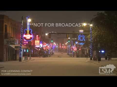 1-16-2018 Memphis, Tn Heavy Snow Blankets Downtown, Beale St, Elvis Statue, BB King