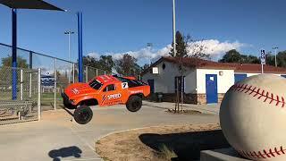 Traxxas slash Jumps at park baseball jumps