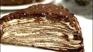 Шоколадный блинный торт Диета Дюкан