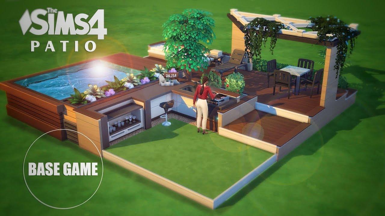 patio backyard ideas with split platforms base game no cc the sims 4 tutorial