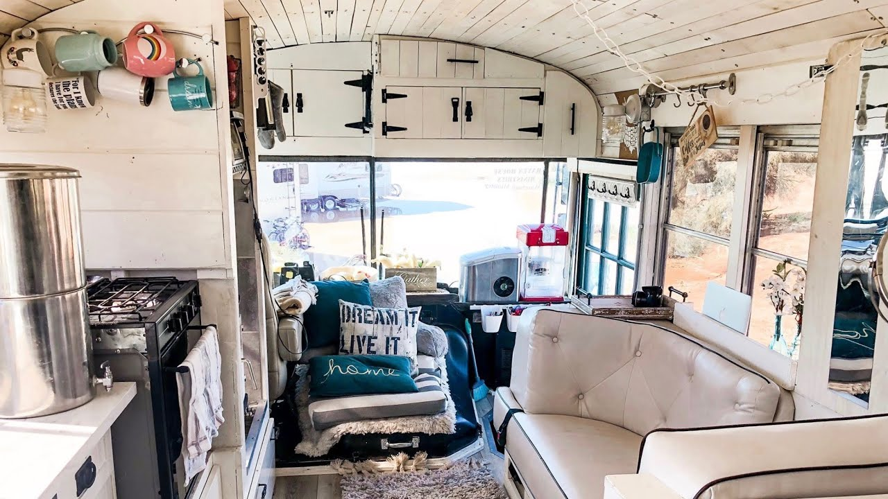 Get a tour of our Skoolie! - Family of 5 living in a converted school bus