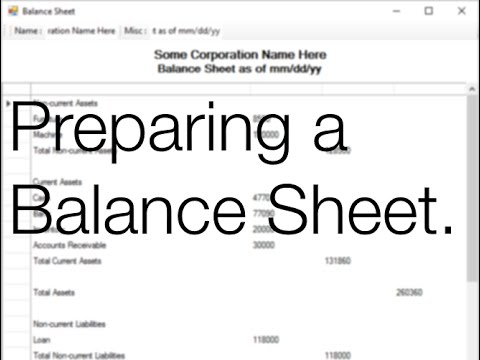 How to Prepare Balance Sheet YouTube – Prepare Balance Sheet
