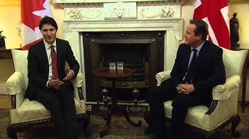 Justin Trudeau meets David Cameron at 10 Downing St.