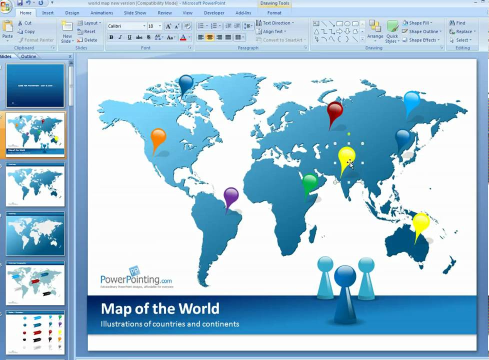 Powerpoint Global Map.How To Customize World Map In Powerpoint Youtube