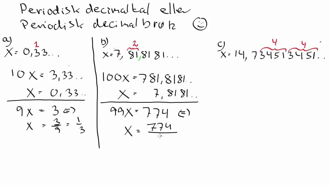 Omskrivning af periodisk decimaltal til brøk