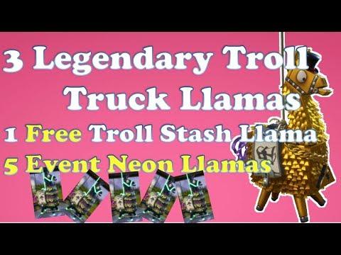 Fortnite StW - Neon Event Llamas and Legendary Troll Truck & Stash Llamas
