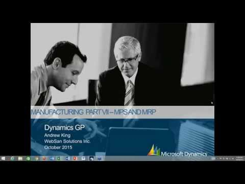 Microsoft Dynamics GP Manufacturing Series Part 7 : Master Production Scheduling (MPS) and MRP