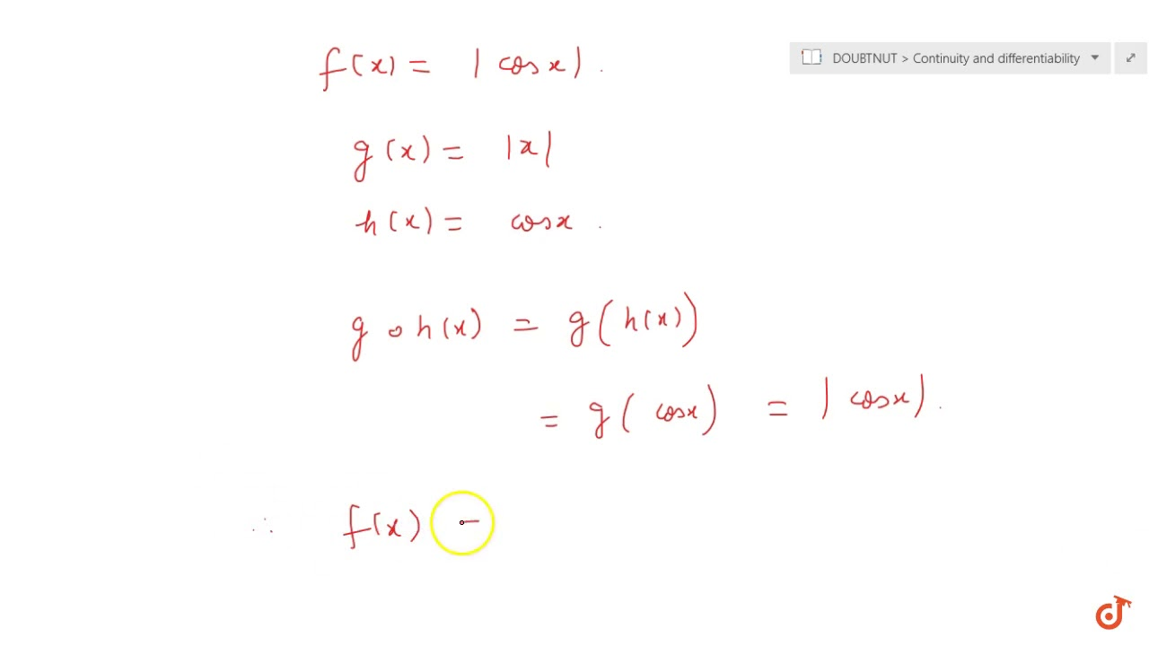 Show that the function defined by `f(x) =   cos x  ` is a ...