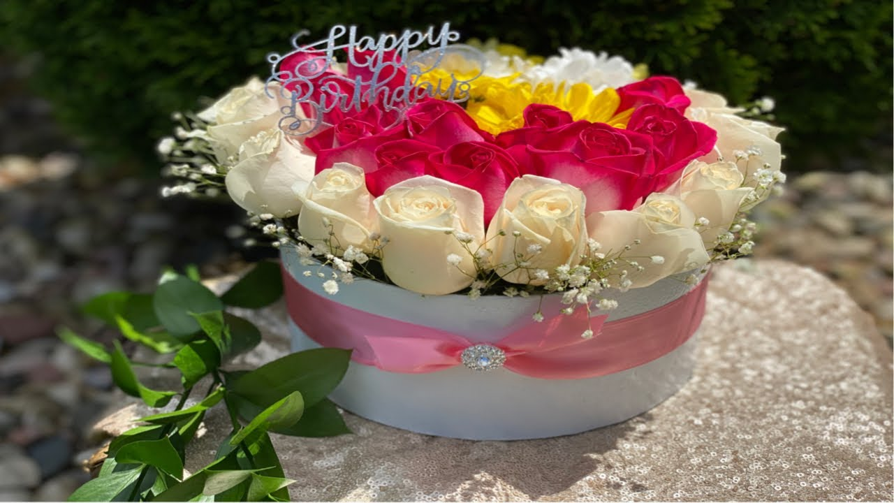 How To Make A Box Flower Arrangement Gift Idea For Her Birthday Flower Bouquet Youtube